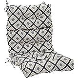 Amazonbasics Tufted Outdoor High Back Patio Chair Cushion- Black Geo, Polyester Canvas ,44X22X 4 Inch, Black, 1 Piece