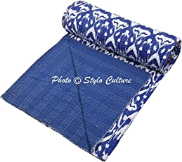 Indian Kantha Bedspread Double Size Ink Blue Cotton Ikat Hand Stitched Blanket Bedding Bed Cover by Stylo Culture