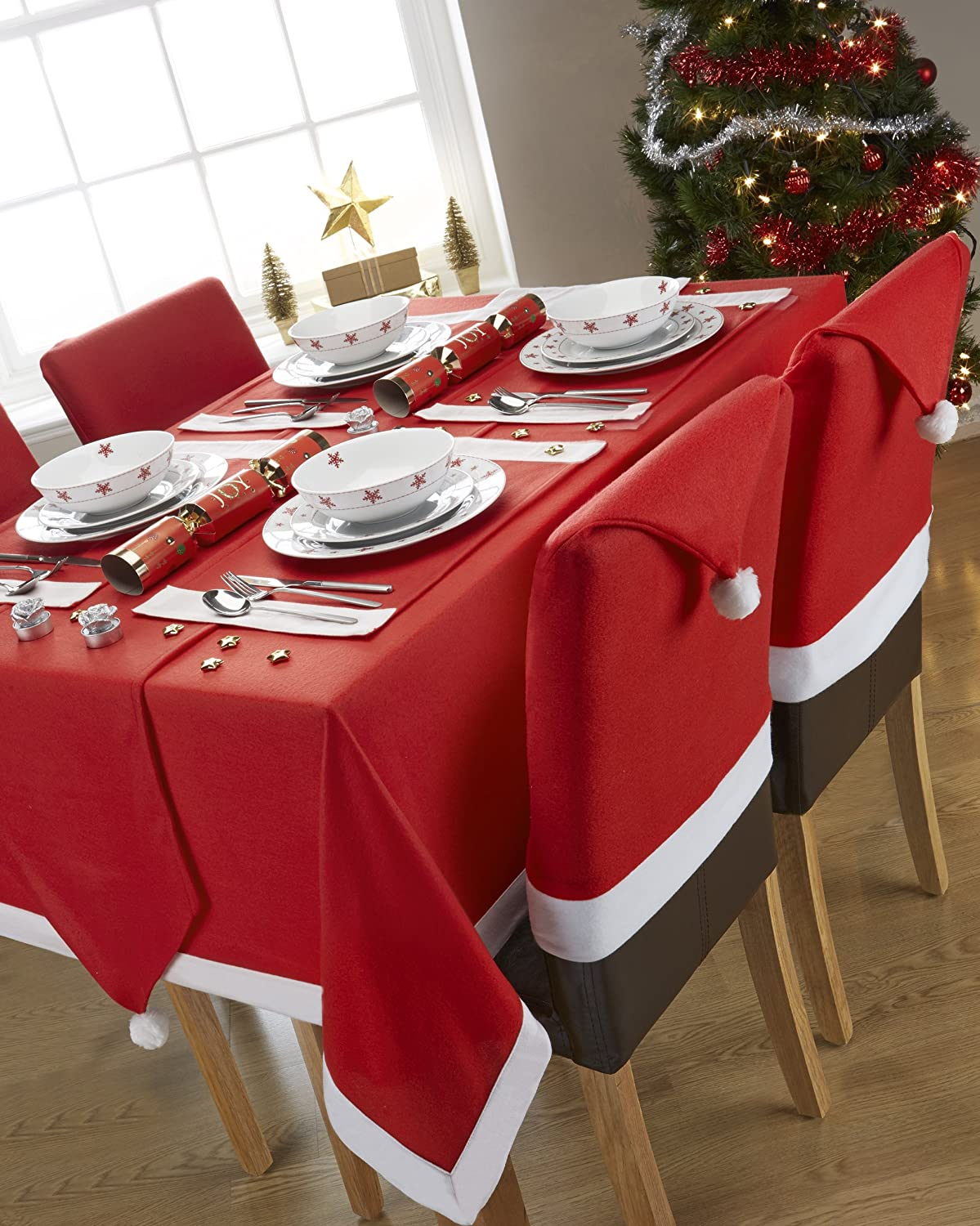 Santa's Table Red and White Table Runner With Pom Pom's (13x72inch ...