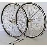 Vuelta 26 Zoll Fahrrad Laufradsatz Dynamic 4 Hohlkammerfelge schwarz Shimano TX500 mit Schnellspannern Silber NIRO Silber 36 Loch