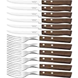 Tramontina Churrasco Set of 12 Steak Knives and Forks Light Brown Wood
