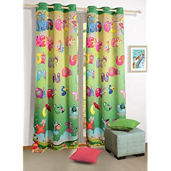 Alphabet Friends Blackout Door Curtains for Kids Rooms - Set of 2 Curtain Panels with Silver Grommets 48 Inchx 84 Inch - Machine Washable