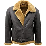 Infinity Men's Brown RAF Aviator Vintage Real Thick Shearling Sheepskin Flying Leather Jacket with Ginger Fur