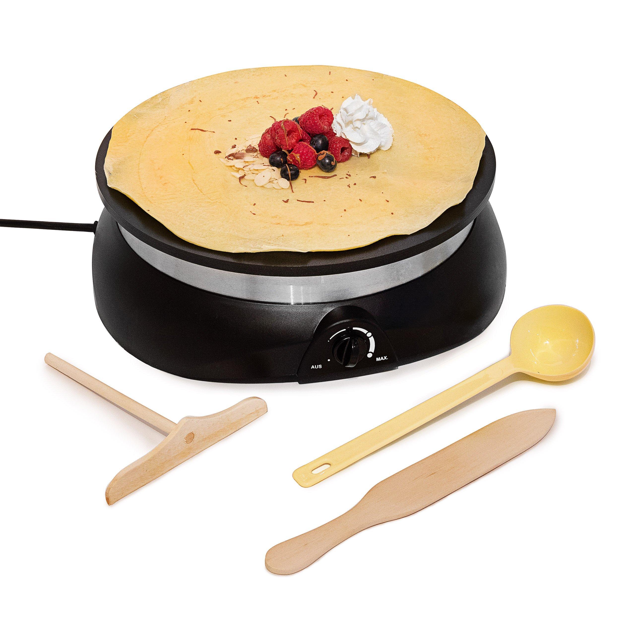 Relaxdays Piastra Elettrica per Crepes Crepiera Crepe Maker con Accessori
