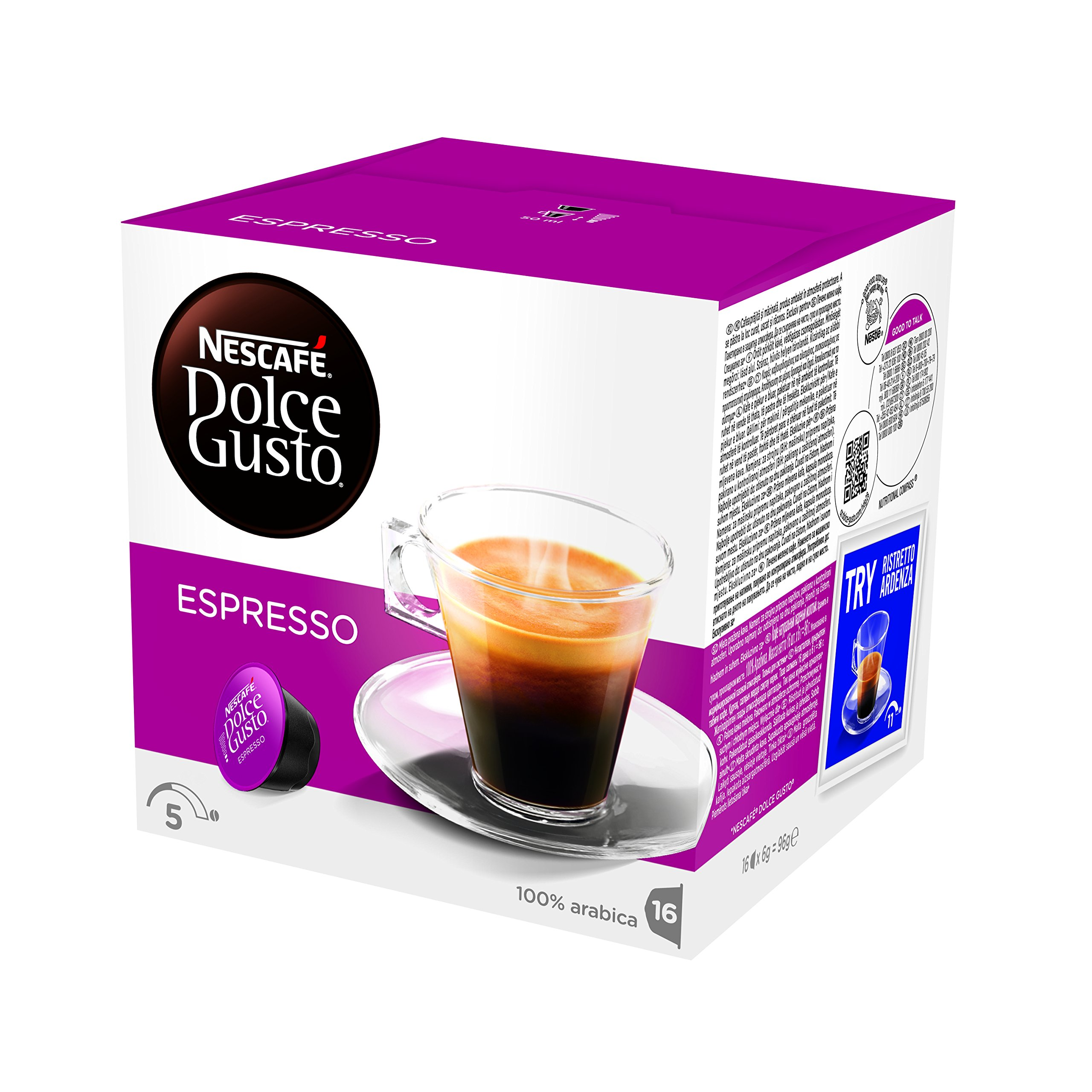 Nescafé Dolce Gusto Espresso coffee pods and capsules (a nutty notes coffee with aromas of nutty)
