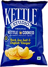 Kettle Studio Potato Chips, Rock Sea Salt and English Vinegar, 125g
