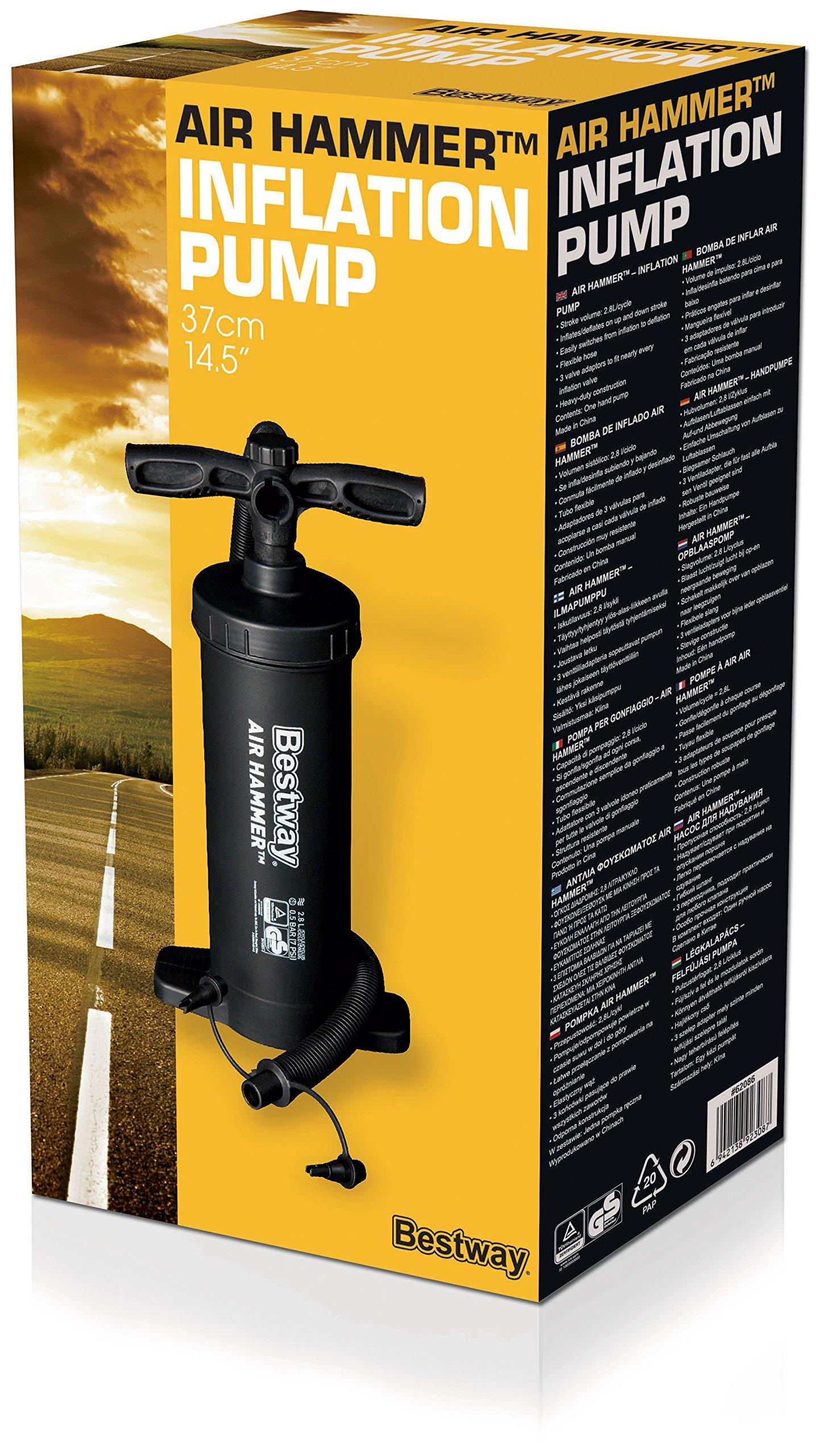 "Bestway 12"" Hammer Inflation Air Pump-Black, 12 Inch 3"