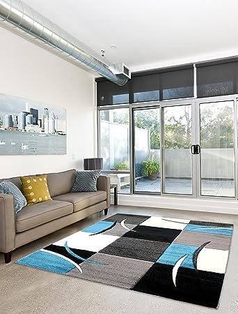 moderner designer teppich wohnzimmer kurzflor 3d konturenschnitt ... - Wohnzimmer Schwarz Blau