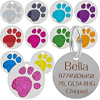 Quality Purple 25mm Glitter Paw Design Pet Id Tag, Dog, Cat, Free Engraving and P&P