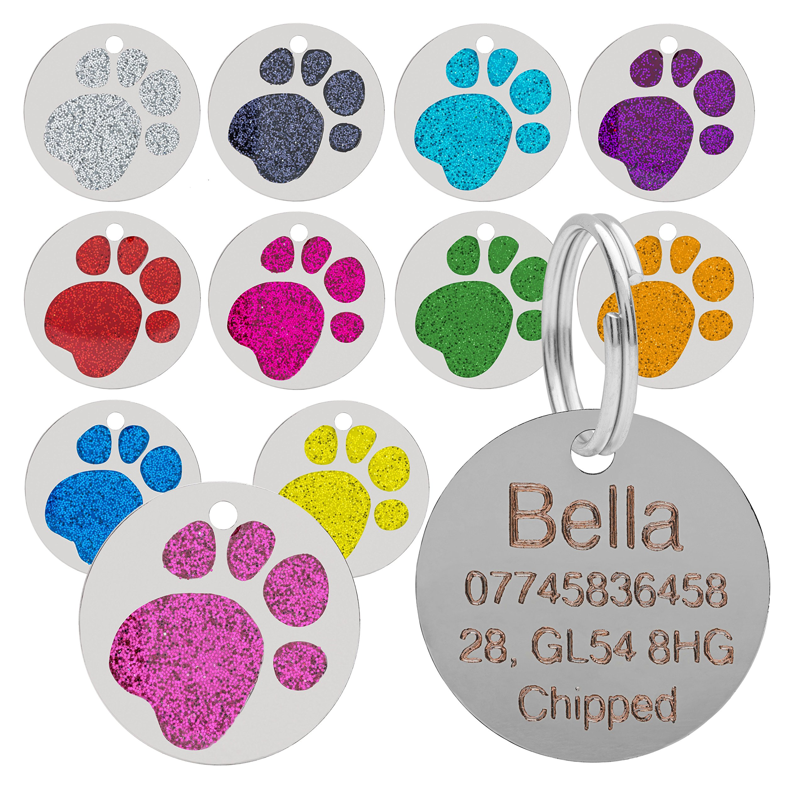 Quality Red 25mm Glitter Paw Design Pet Id Tag, Dog, Cat, Free Engraving and P&P
