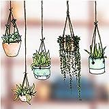 Set van vijf raamstickers / stickers met getekende hangende plantenmotieven - hangende pot glasstickers - tuinhuisstickers Du