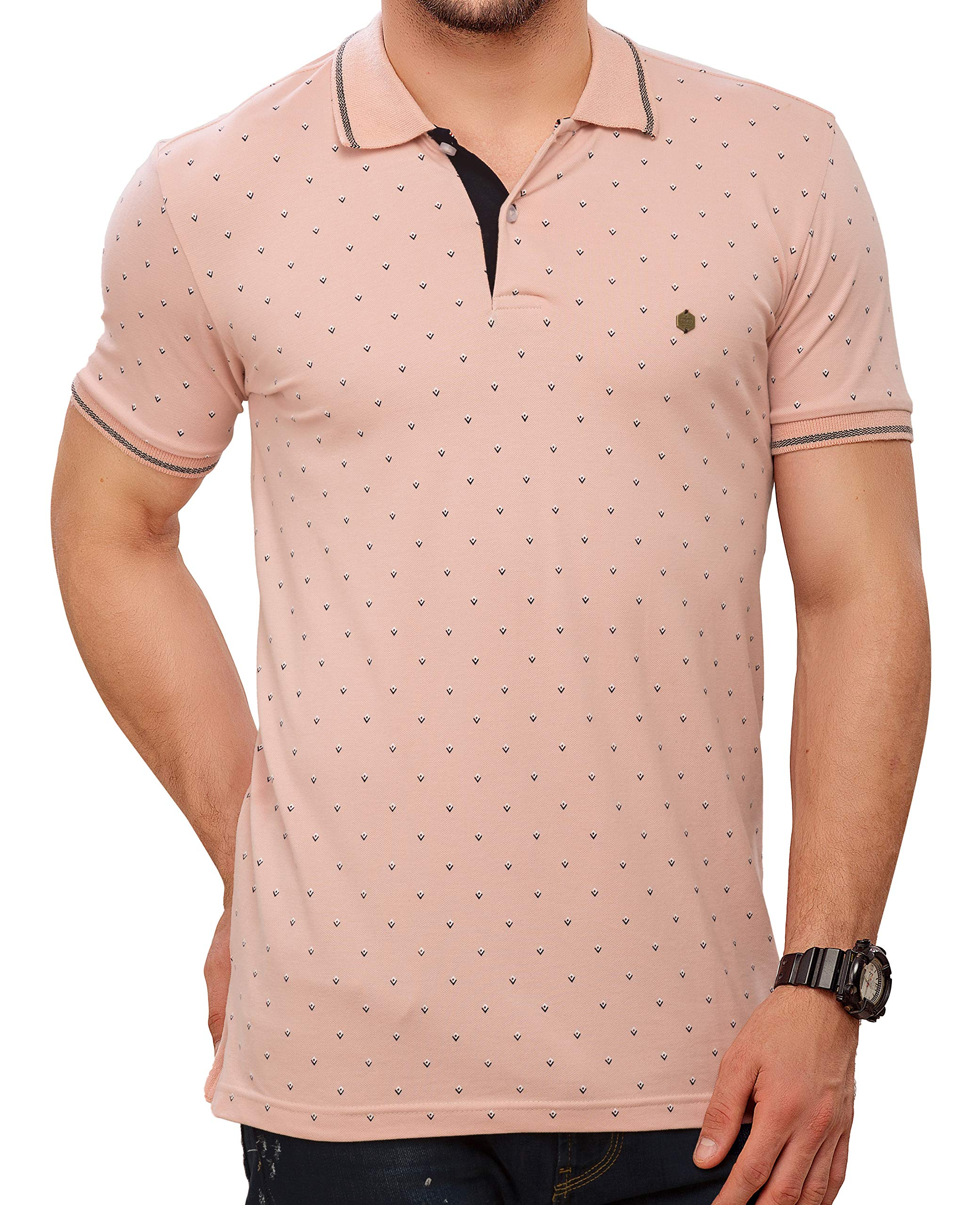 ae5dcc87a ZEYO Men s Cotton Peach All Over Printed Polo Tshirt – Buy Bestow