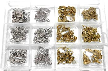 Goelx Antique Bails/Loops Combo in 12 Designs (6 Golden & 6 Silver) with Free Storage Box - 180 Bails