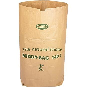 Alina - Sacchetto in carta biodegradabile da 140 litri per rifiuti compostabili o per bidoni della spazzatura con ruote + guida al compostaggio (lingua italiana non garantita), 8 sacks
