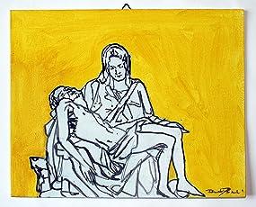 Gemälde von Michelangelo Barmherzigkeit-Studie auf Leinwand Papier in Acryl cm 30x24x0,3 cm-MADE ITALY Größe in Lucca Toskana gemacht, Zertifikat.Erstellt von Davide Pacini.