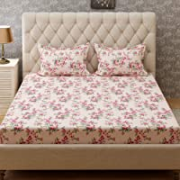 Bombay Dyeing Cynthia 120 TC Polycotton Double Bedsheet with 2 Pillow Covers - Peach