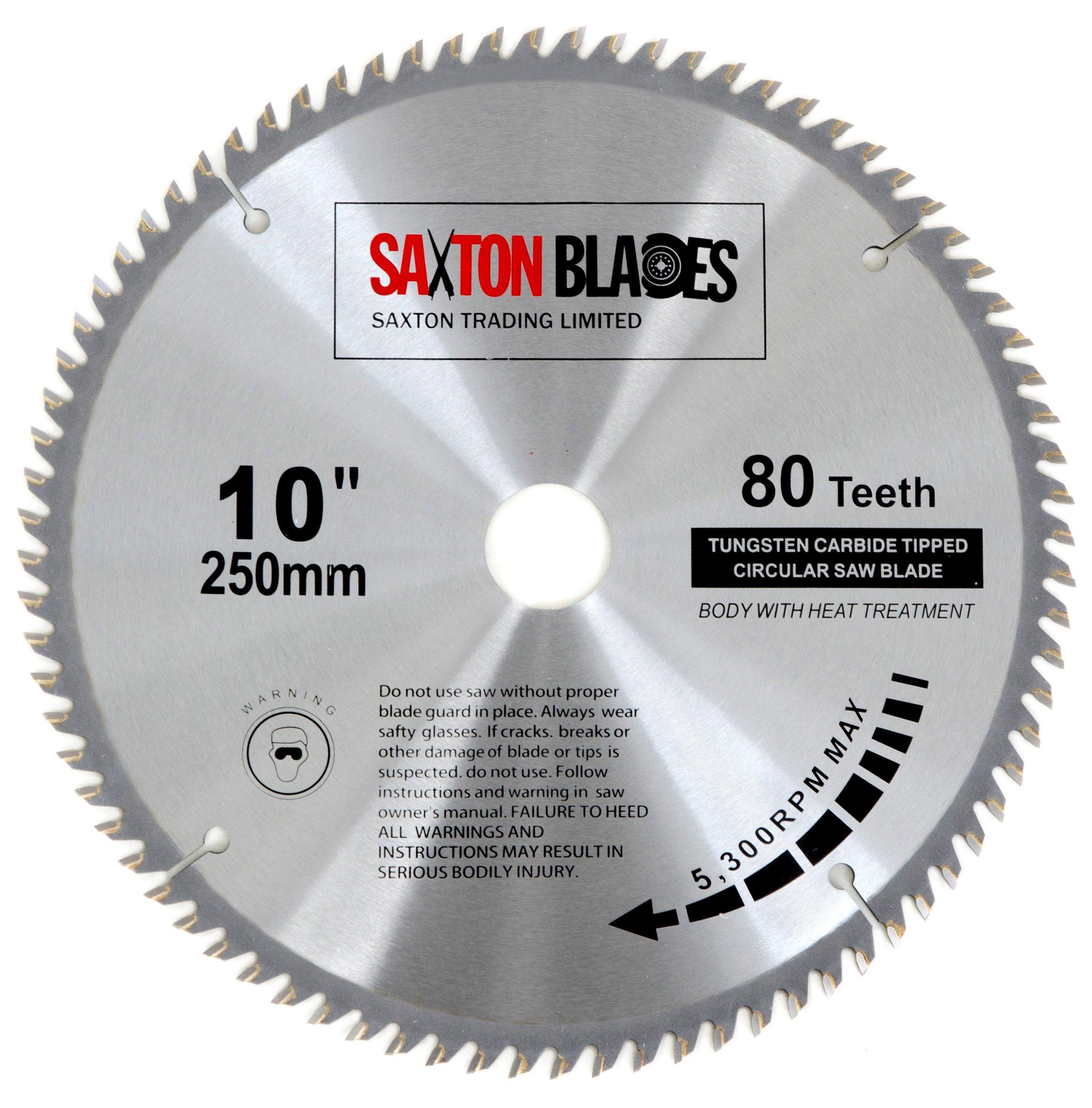 Saxton – Disco circular de TCT para sierra circular para madera de 250 x 30mm y 80 dientes, se adapta a sierras de 255mm