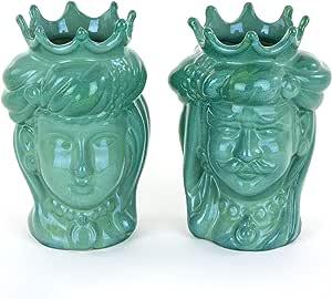Coppia Teste di Moro Verdi H cm 14, Ceramica di Caltagirone Fatta a Mano