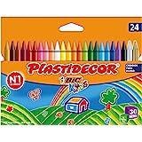 BIC Kids Plastidecor- Blíster de 24 unidades, ceras de colorear para niños - colores vivos surtidos, ideal para actividades c