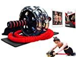 INTENT SPORTS Multi Functional Ab Wheel Roller KIT with Resistance Bands, Kneepad, Workout Ebook. Abdominal Workout Wheel...