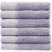 Casa Copenhagen 600 GSM 100% Cotton Solitaire 6pcs Face Towel Set - Mistic Lavender