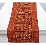 Stylo Culture Centre de Table Traditionnel pour Table à Manger Brocart Rouge Jacquard & Satin Éléphant de Bohême Paon Floral