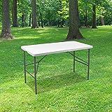 SKYLANTERN Table Pliante 120 cm d'Appoint Rectangulaire Blanche - Table de Camping 6 Personnes L120 x l60 x H74cm en HDPE Hau