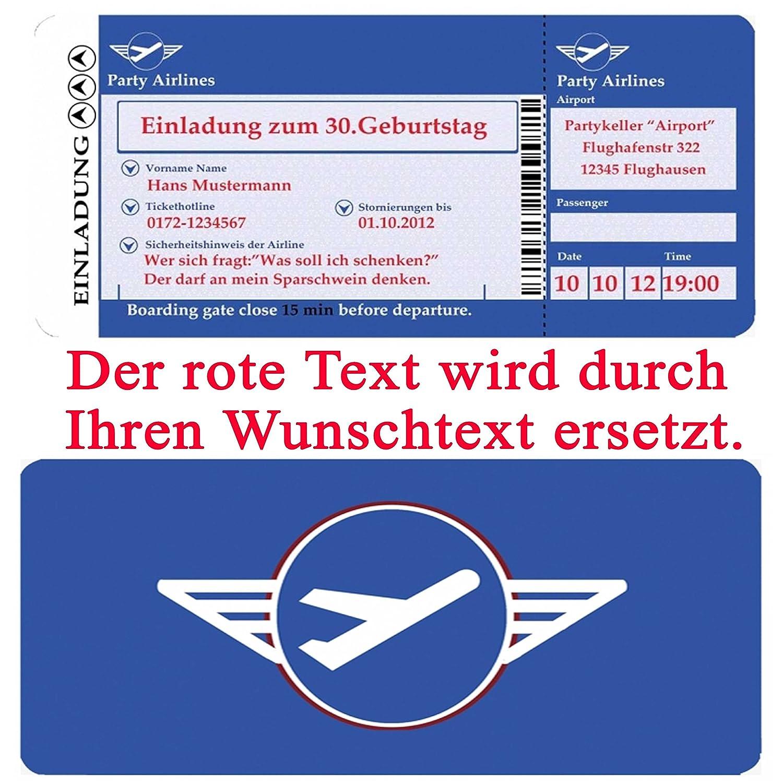 Einladungskarten Geburtstag   Motiv: Flugticket (+ Ihren Daten Und Texten)  Geburtstagseinladungen 20 30 40 50 60 70 Einladung: Amazon.de: Bürobedarf U0026  ...