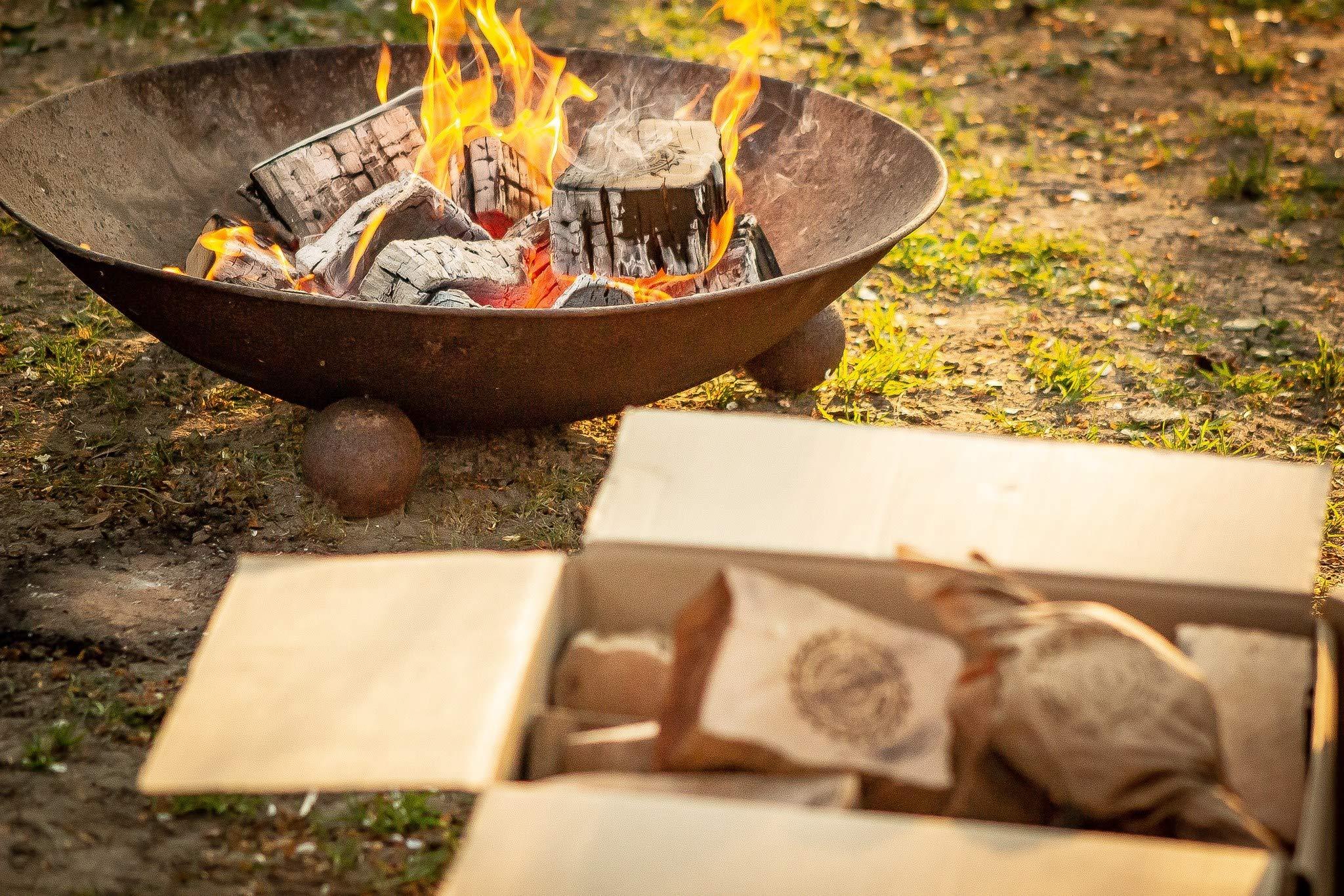 Acapnos – Leña para chimenea (10 kg, madera de haya, discos de 5 cm, incluye encendedor para barbacoa, fuego abierto, parrilla y chimenea)
