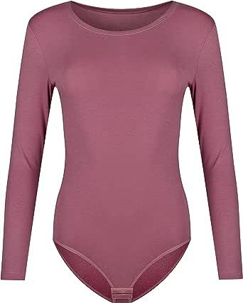 Krisli - Body da donna a maniche lunghe in cotone, con scollo rotondo, chiusura sul cavallo, vestibilità perfetta, coprente, adatto per lo sport e come maglietta basic