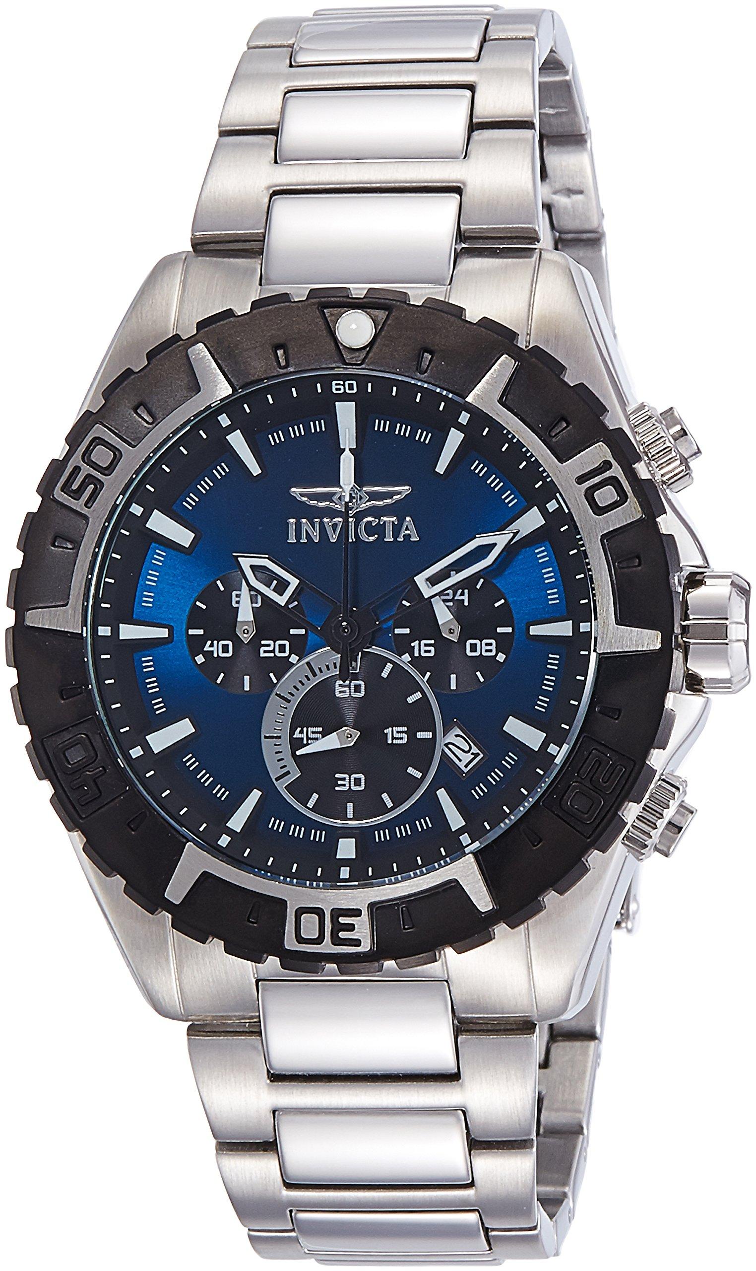 Invicta 22526 Aviator Reloj para Hombre acero inoxidable Cuarzo Esfera azul