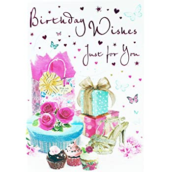 Happy Birthday Wishes Greeting Card Verse Ladies Girls Friend Her Glitter Girly