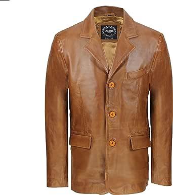 LLD Original Mens Black & Tan Real Soft Sheep Leather Blazer Mid Length Vintage Jacket Coat