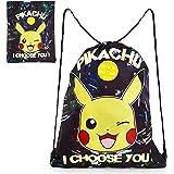Pokemon Mochila de Cuerdas Niño, Bolsa de Tela Estampado Pikachu, Mochila Niño Que Brilla en la Oscuridad, Bolsa de Deporte B