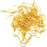 Jaz Women's Golden Finish Metal Jewellery Making Earring Hooks Pack of 100 Pcs