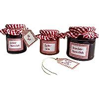 Set d'étiquettes à bocaux avec glasdeckchen et pendentifs, Budget Étiquettes Rouge