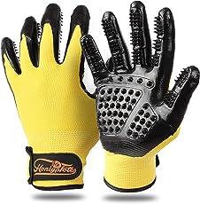 HONIGPFOTE Fellpflegehandschuhe zur Tierhaar Entfernung - Fellwechsel Handschuhe für Hunde-, Katzen- und Pferde