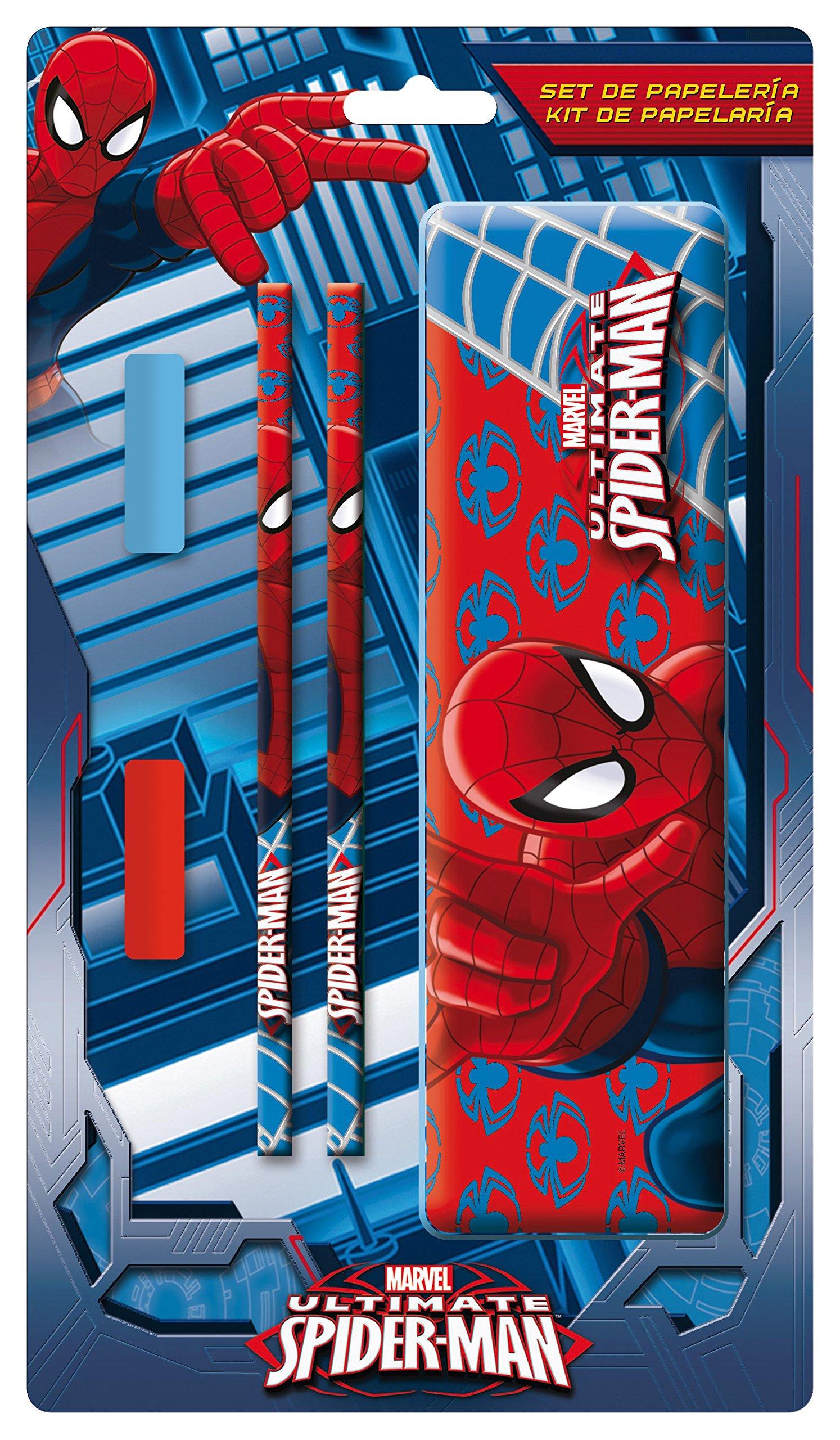 Spiderman – Plumier de Metal con Accesorios, 15 x 27 cm (Arditex SM8952)