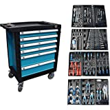 Gereedschapswagen, werkplaatswagen, gereedschapskist, gereedschapskist + gereedschap, 220-delig