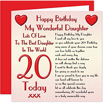 Daughter 20th Happy Birthday Card