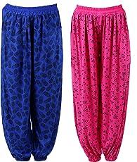 Numbrave Women's Viscose Harem Pants (EANHAREMPRINTED_PINK_BLUE_Pink & Blue_Free Size)(Pack of 2)