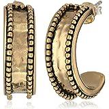 "Barse ""Basics"" Beaded Bronze Hoop Earrings"