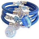 VENEZIA CLASSICA - Bracciale da Donna con perle in Vetro di Murano Originale e vera pelle Toscana a tre giri blu, con foglia