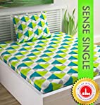 Divine Casa Sense Cotton 144 TC Single Bedsheet with Pillow Cover - Geometric, Jasmine Green and Peacock Blue
