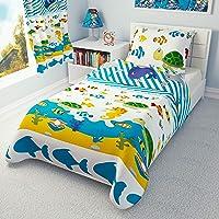 Duvet Cover + Pillowcase 120 cm x 150 cm Toddler Bedding SEA Animals 100% Cotton (120x150 cm)