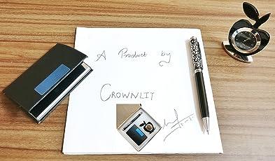 CrownLit's 3 in 1 Gift Set with Apple Clock, PREMIUM Metallic Pen, Business Card Holder