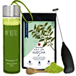 Kimino - Organic Matcha Tea - 50 gms - Holiday Combo Kit- (Recipe EBook + Wooden Spoon + Electric Whisk + Carry Bottle)