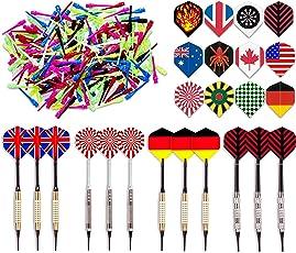 """Kings Dart Dartpfeile Spar-Set """"Allround"""" mit 12 Turnierdartpfeilen, 36 Full Dart Flights und 500 Dartspitzen"""