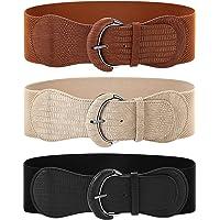 3 Pieces Wide Women Waist Belt Stretchy Cinch Belt Leather Elastic Belt for Ladies Dress Decoration