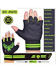 Xtrim PRO FIRM ( M / L / XL / XXL ) PROFESSIONAL WRIST WRAP GYM GLOVES - GREY COLOR - Washable Real Leather, Durable, Double Stitched, 4-way Stretch Back Mesh, Half Finger Length, No Sweat, Extra Foam Padded, Luxurious Closure. Uses: Weight Lifting, Gym Gloves, Fitness Gloves, Work out Gloves, Palm Protection, Cross Country, Comfort, No Calluses, Grip Strength, Gift For Men.